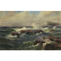 sea coast in storm by william st. thomas smith