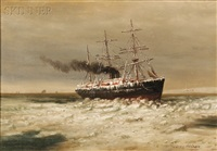 ship on an icy sea by elbridge wesley webber