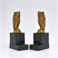 owl bookends on marble bases (pair) by george h laurent