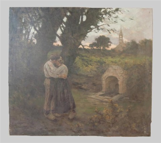 couple damoureux dans la campagne prés de la chapelle de kervern à tregunc by eugène labitte