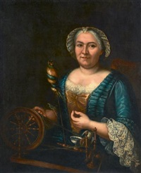 portrait présumé de madame arlon filant de la soie by jacques andré joseph aved