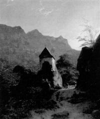 südtiroler hochgebirgstal mit auf einem felsen gebauter kapelle by johann christian heerdt