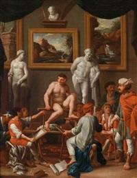 aktsaal mit männlichem modell by johann heiss