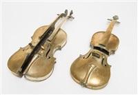 violon découpé verticalement / violon découpé horizontalement (2 works) by arman