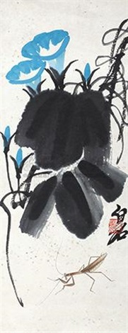 牵牛花草虫 morning glory and insects by qi baishi