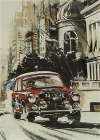 paddy hopkirk winning monte carlo rally in a 33ejb mini cooper by dion pears