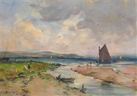 figures and boats on an estuary by jules de breanski