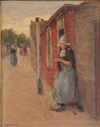 knitting out of doors - volendam, holland by frederick carl smith