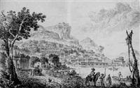 view of a mediterranean port by louis le sueur