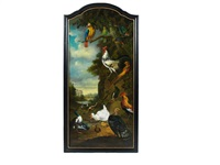 paintings of exotic and domestic birds within landscapes (+ 1 others; 2 works) by pieter casteels iii