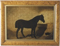 portrait of a horse in his stall with black cat nestled in the hay beside him by arthur batt
