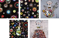 jellyfish eyes - black 2; jellyfish eyes - black 3; jellyfish eyes; pom & me: on the red mound of the dead; and i met a panda family and 2013 (5 works) by takashi murakami