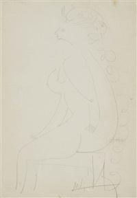 femme nue de profil by wifredo lam