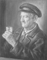 biertrinkender fischer by h. melkus