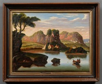 river valley with fishermen, cottages and distant castle by thomas chambers
