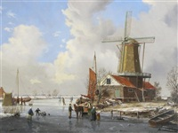 winter scene by a windmill by a. de groote
