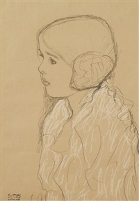 mädchenbrustbild nach links (bust of a girl in profile) by gustav klimt