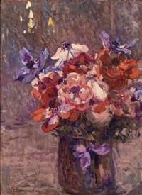 vaso di fiori con anemoni by lodovico tommasi