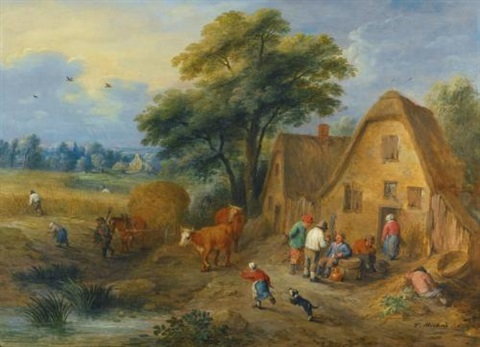 a northern landscape with villagers conversing and harvesters returning from the fields, with a farmer and a dog herding two cows by theobald michau
