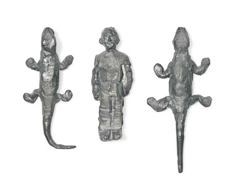 two lizards and a man 3 works by stephan balkenhol