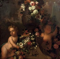 putti playing with garlands of flowers by a classical urn in a park landscape by elias van nymegen