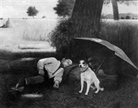 a boy and his dog resting in a wheat field by martin coulaud