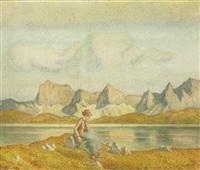 rast am hochgebirgssee by rudolf glotz