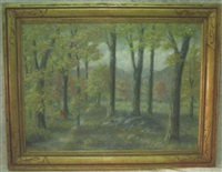 autumn woodland landscape with two figures by george h. freedley