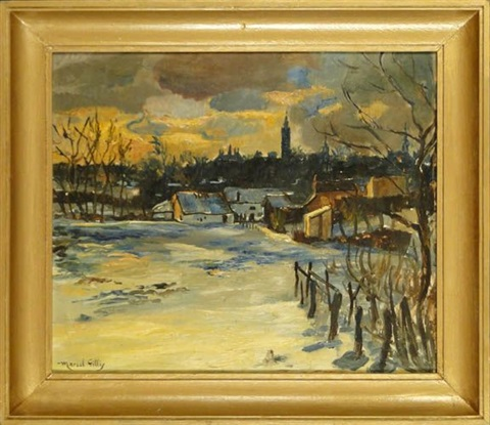 vue de mons en hiver by marcel gillis