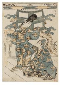 la danse de dojoji, exécutée par deux enfants (oban benizuri-e) by ishikawa (nishimura shigenobu) toyonobu