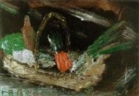 stilleben mit einem korb voller gemüse by jean-pierre (le boucher corpaato) corpataux