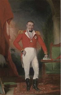 portrait of general sir john doveton, g.c.b. (1768-1847), small full-length, in military uniform, his left hand resting on books, a landscape beyond by anglo-indian school (18)