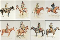 a bunch of buckskins: portfolio of 8 lithographs by frederic remington