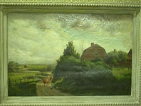 landscape with a red farm house and cows and chickens on a dirt road, sea in the distance by edmund elisha case