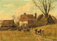 cattle grazing by the cottages by william frederick hulk