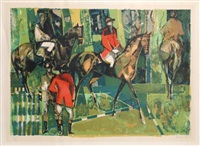 horses and riders by camille hilaire