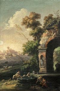 paesaggio arcadico con ponte sullo sfondo and paesaggio arcadico con fontana (2 works) by carlo bonavia