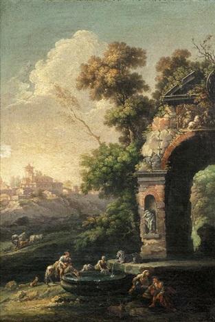 paesaggio arcadico con ponte sullo sfondo and paesaggio arcadico con fontana 2 works by carlo bonavia