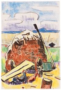 hühner und heuhocke vor dem revekol am lebasee by karl schmidt-rottluff
