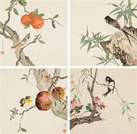 春色 四屏镜心 纸本 (in 4 parts) by jiang hanting