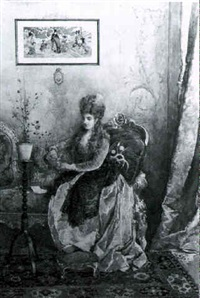interior view of a woman in an orientalist setting by attilio simonetti