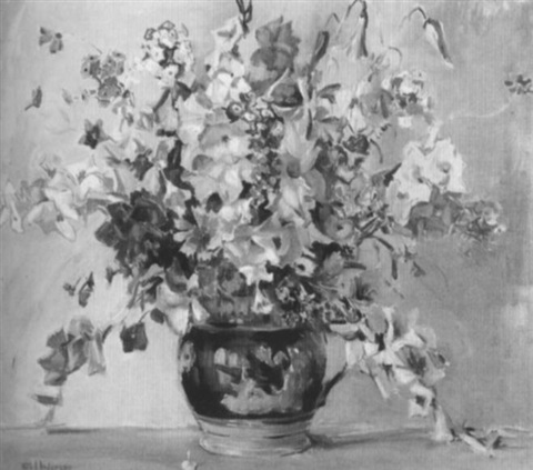 floral still life in pink and purple by ruth a temple anderson