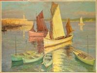 port de honfleur animé (+ port breton à voiliers animé, verso) by fernand lienaux