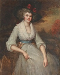 portrait of a lady in a hat by george romney