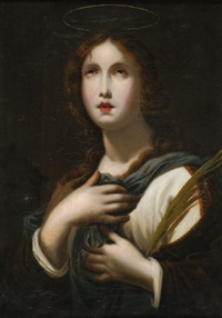 heilige agnes halbfigur mit palmwedel im linken arm und lamm zu ihrer rechten seite by carlo dolci