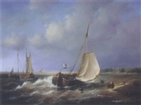 dutch ships off the coast by jean laurent
