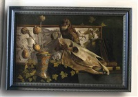 a still life with an owl and a scull by enrico fantappié