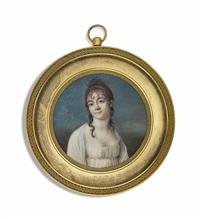 renée duchemin du bois-dupin née de berset d'hauterive (1769-1852), in white dress with white shawl; sky background by jean baptiste jacques augustin