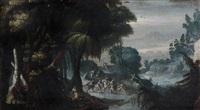 paesaggio con scena di agguato by herri met de bles