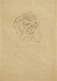 oberkörper einer alten frau, die hände an der stirn (old woman with her hands on her forehead) by gustav klimt